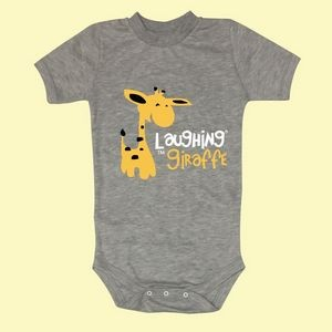 The Laughing Giraffe® Short Sleeve Cotton Crew Neck baby Bodysuit - Heather Gray