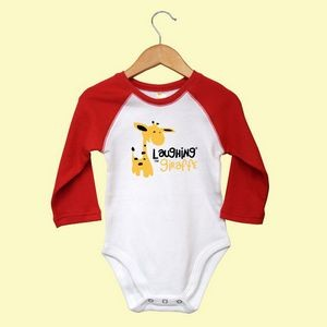 The Laughing Giraffe® 3/4 Sleeve Raglan Baby One Piece- Bright Colors